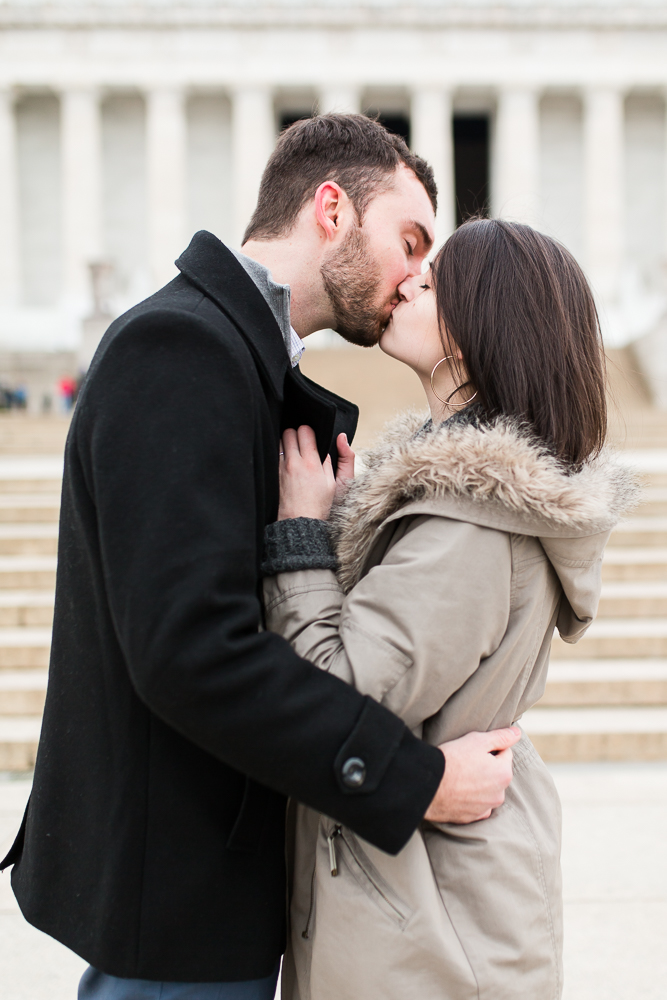 Couple kisses during photo shoot after their surprise proposal on the National Mall in DC