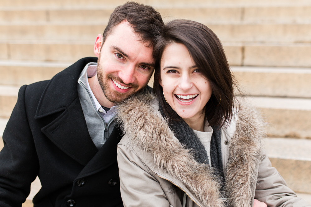Big smiles after their engagement on the National Mall