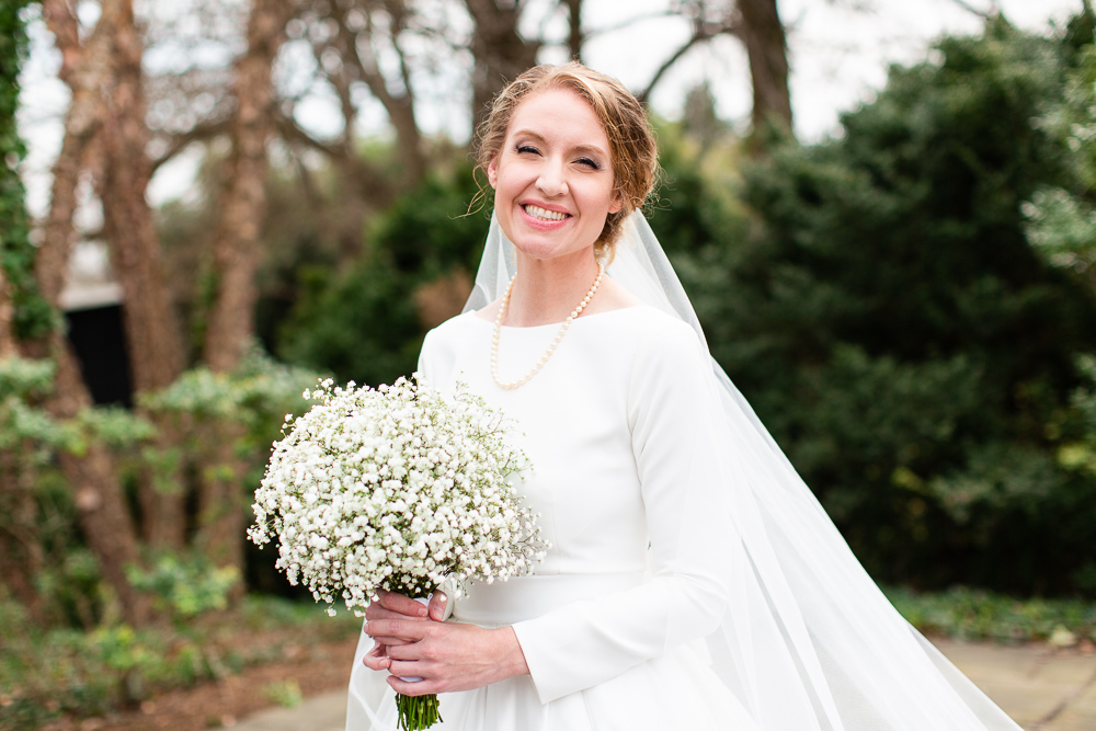 Smiling bride at her Warrenton, Virginia wedding | Bridal hair and makeup by Salon Emage Day Spa