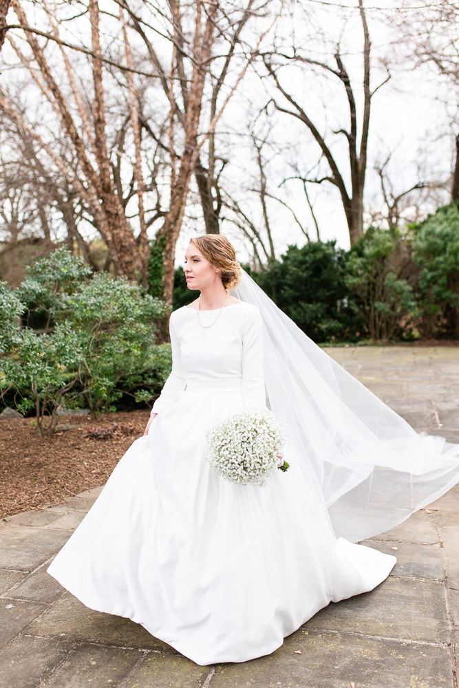 Beautiful bride on her wedding day at Black Horse Inn in Warrenton, Virginia