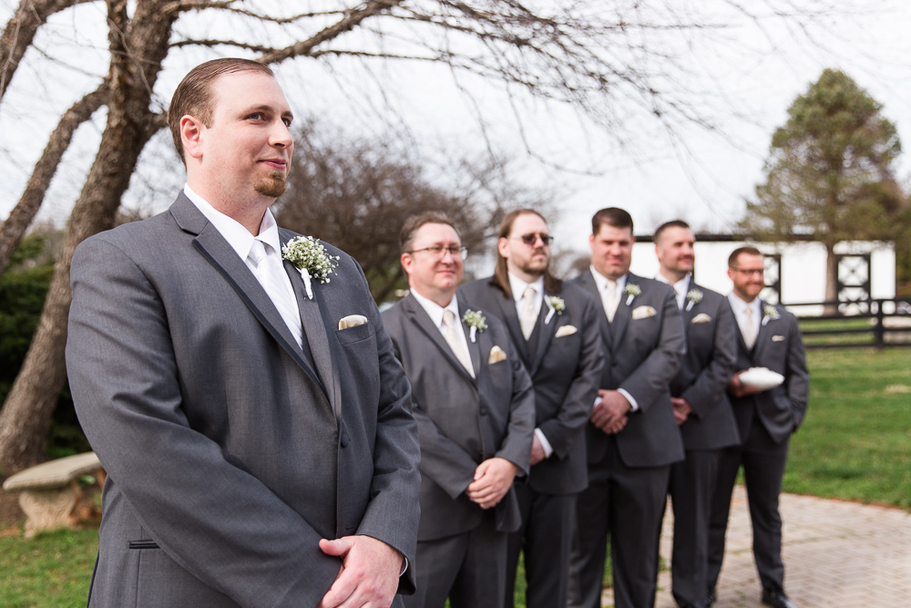Groom watching the bride come down the aisle | Black Horse Inn wedding ceremony
