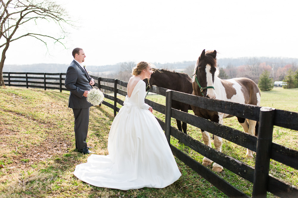 Wedding photos with horses in Northern Virginia at Black Horse Inn
