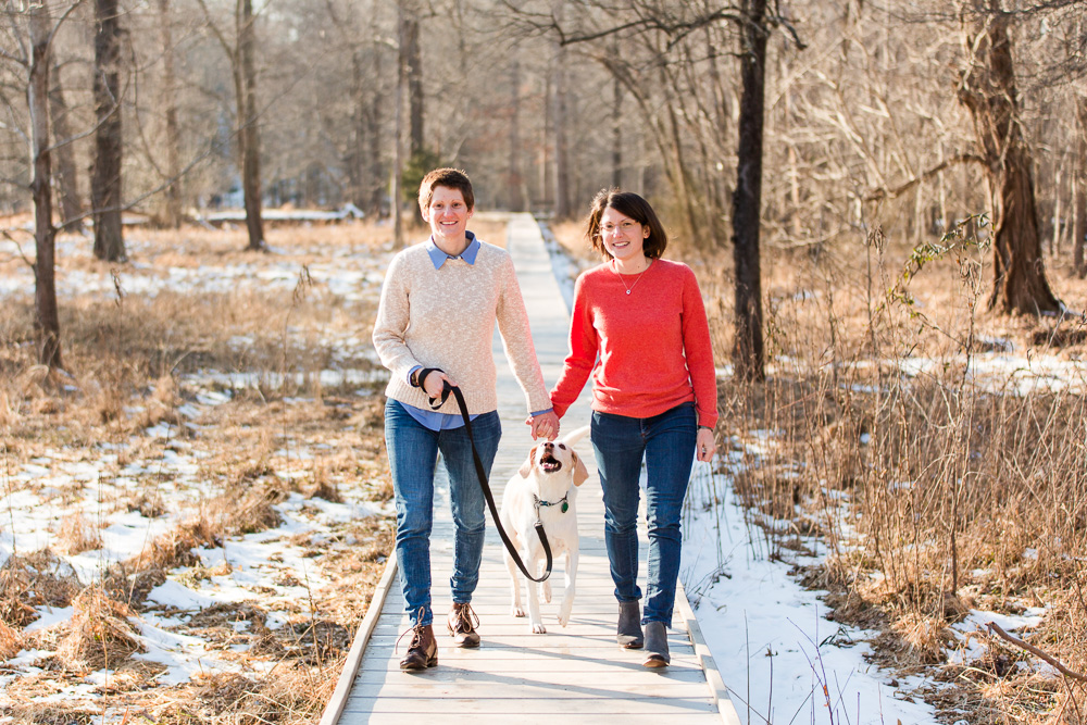 Engaged couple holding hands as they walk with their dog during an engagement session