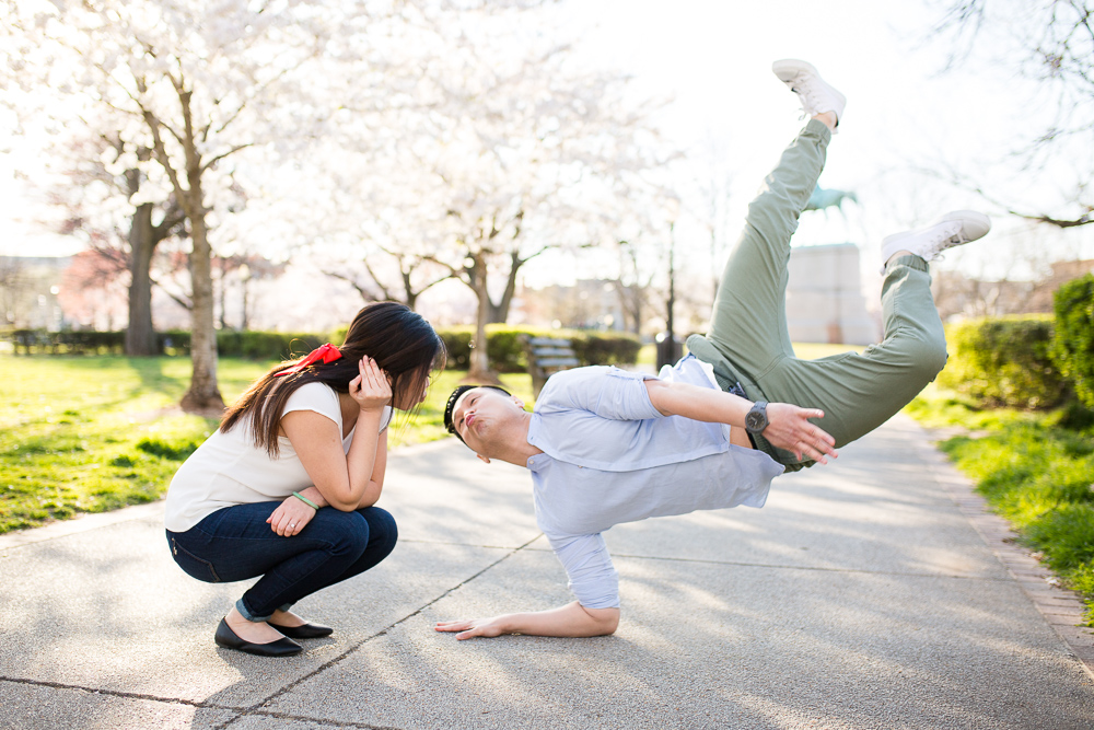 Break dancing engagement photo