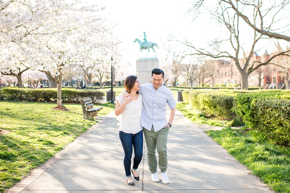 Candid engagement photography at Washington, DC cherry blossoms