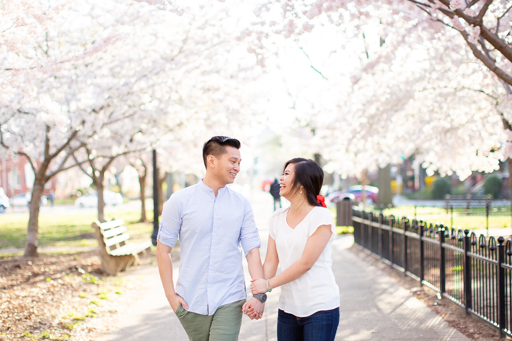 Candid photographer Washington DC | Cherry blossom engagement pictures