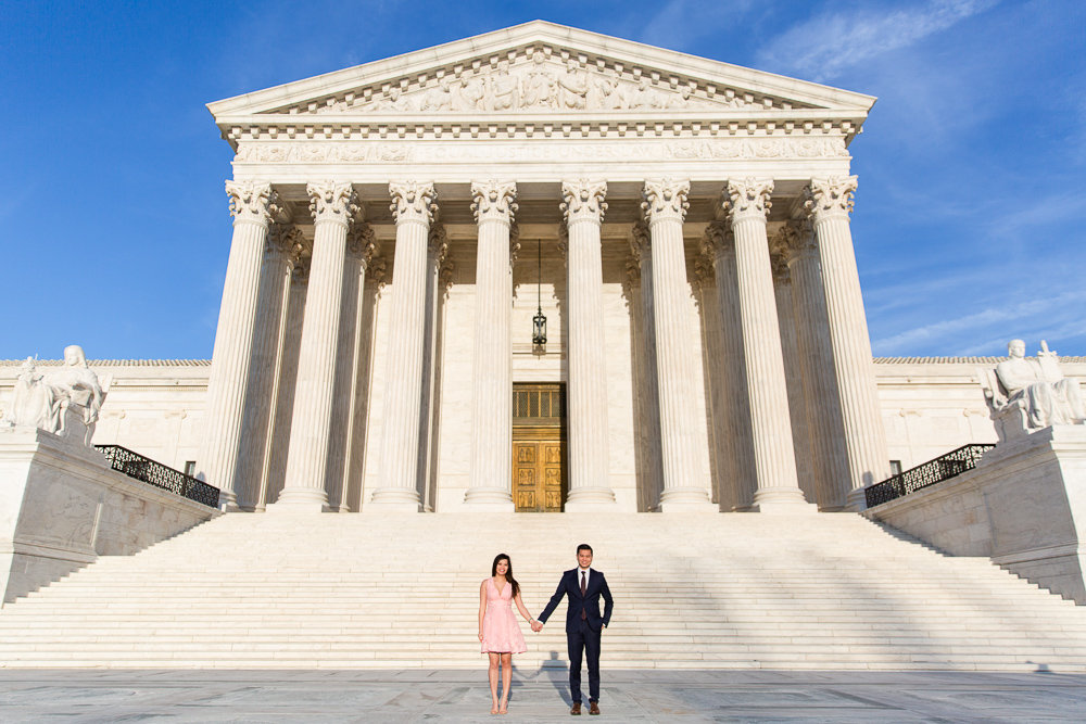 Engagement pictures in front of the Supreme Court | Washington, DC engagement photo locations