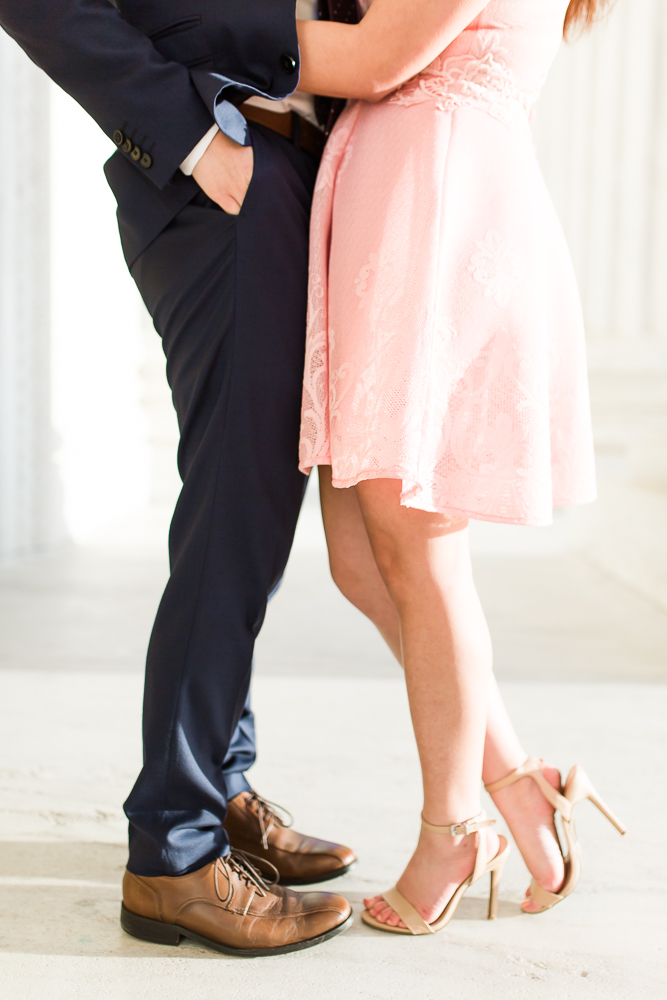 Close up photo of engaged couple's shoes during a Washington, DC engagement session