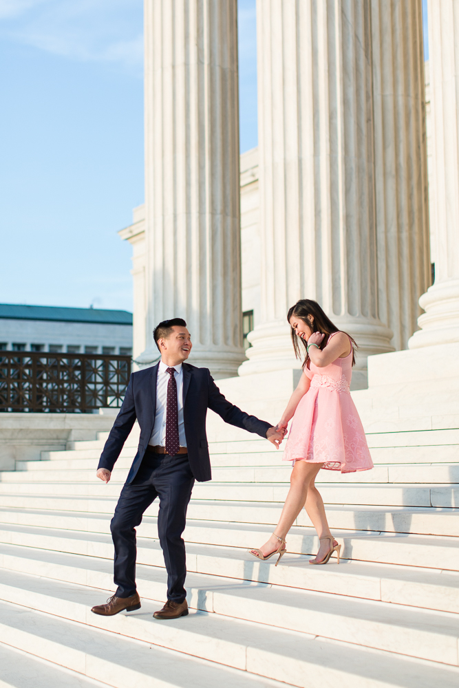 Outfit ideas for engagement pictures with navy suit and light pink dress