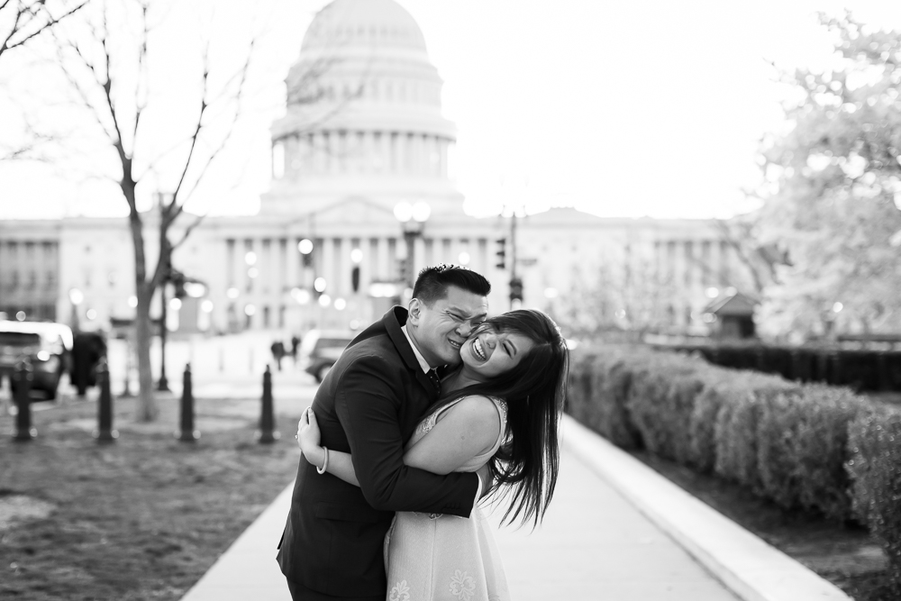Fun and candid engagement photography by the Capitol in Washington, DC