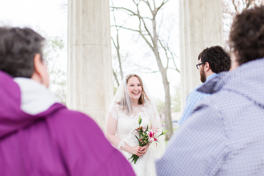 Smiling bride during her spring wedding ceremony