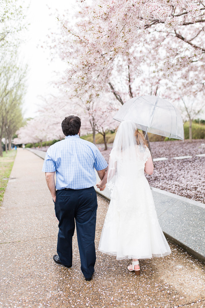Bride and groom walking hand-in-hand among the cherry blossom trees on their wedding day