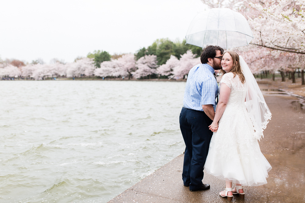 Tidal Basin cherry blossom wedding pictures on a rainy day in Washington, DC
