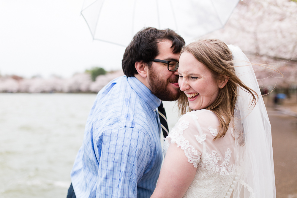 Fun wedding pictures as bride and groom goof around in Washington, DC