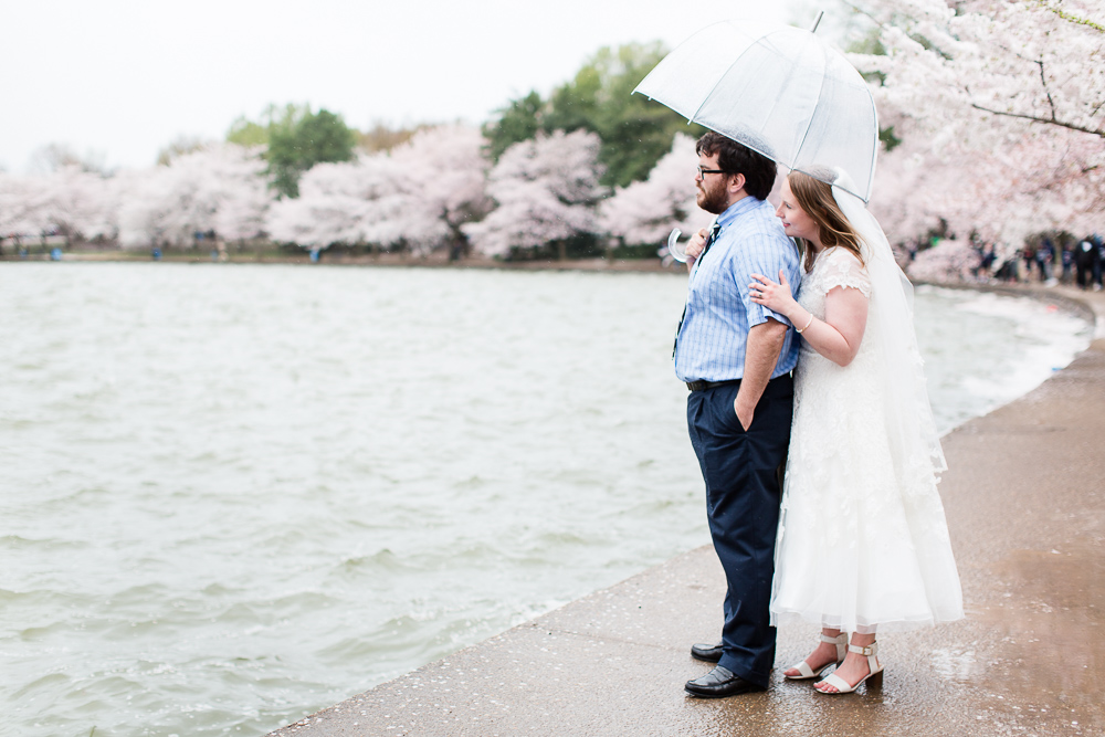 Bride and groom looking out over the Tidal Basin during  the peak cherry blossom bloom | Washington, DC wedding photographer