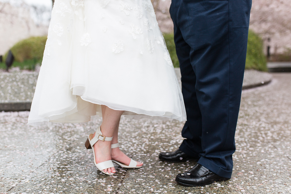 Bride and groom's feet surrounded by cherry blossom petals at the Tidal Basin