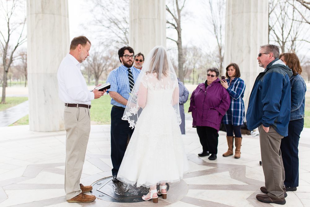 Intimate wedding ceremony at the DC War Memorial