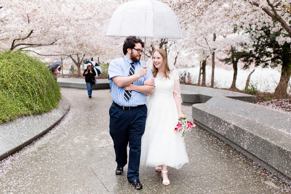 Wedding couple with cherry blossom trees on their wedding day in Washington, DC