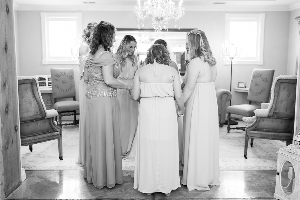 Saying a prayer at the start of the wedding day in Charlottesville, Virginia