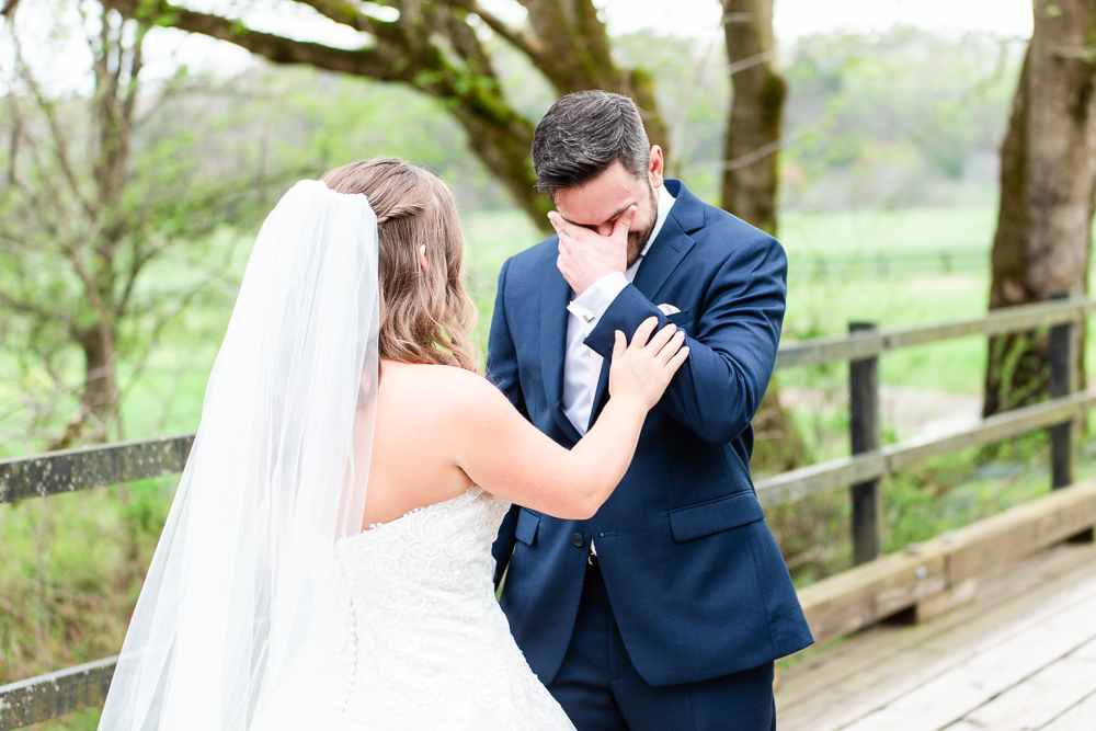 Emotional First Look as groom starts to cry when he sees the bride | Mount Ida Farm wedding photos