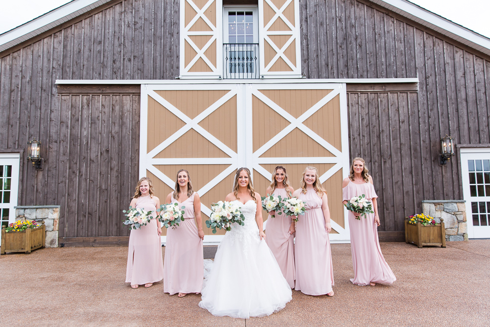 Lodge at Mount Ida Farm bridesmaids in long pink dresses | Best Charlottesville wedding venues