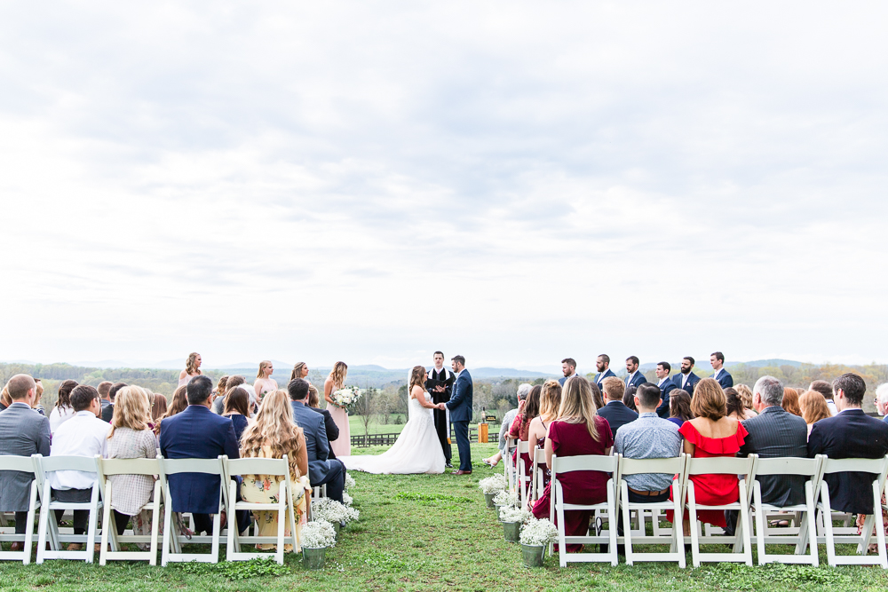 Wedding ceremony views at the Lodge at Mount Ida Farm | Best Charlottesville outdoor wedding venue