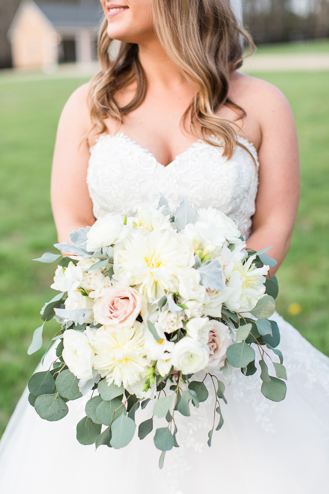 White and green wedding bouquet from Vogue Flowers in Charlottesville, Virginia