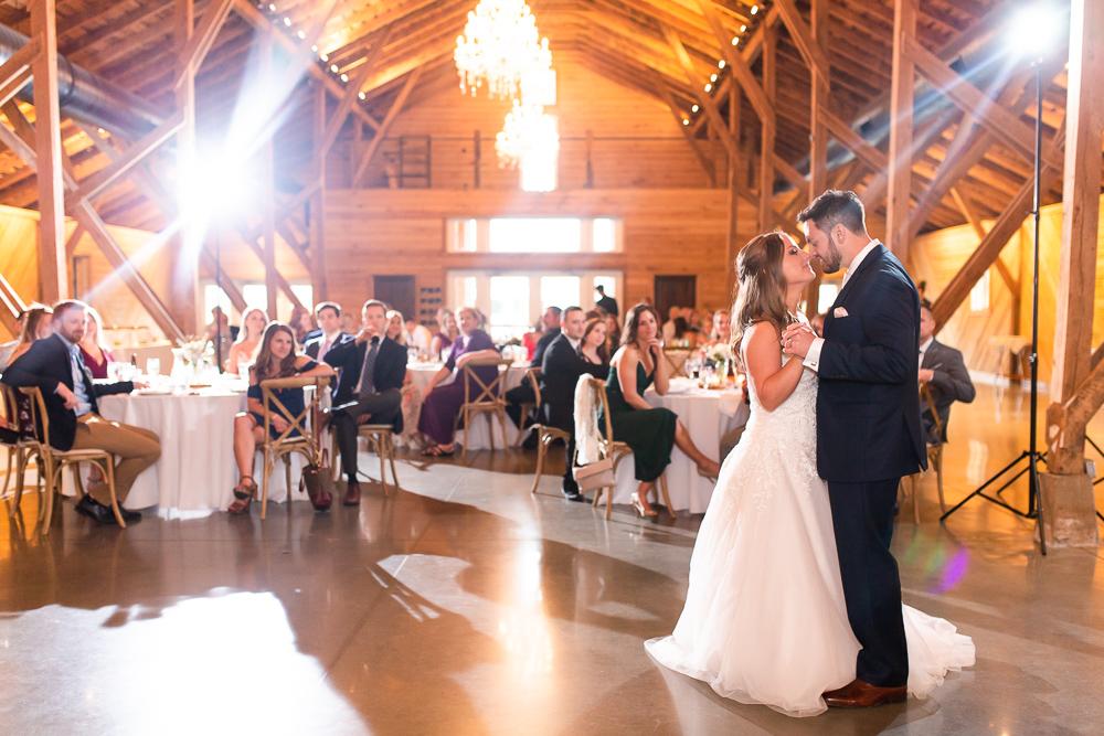 First dance inside the barn at the Lodge at Mount Ida Farm   Charlottesville barn wedding venue