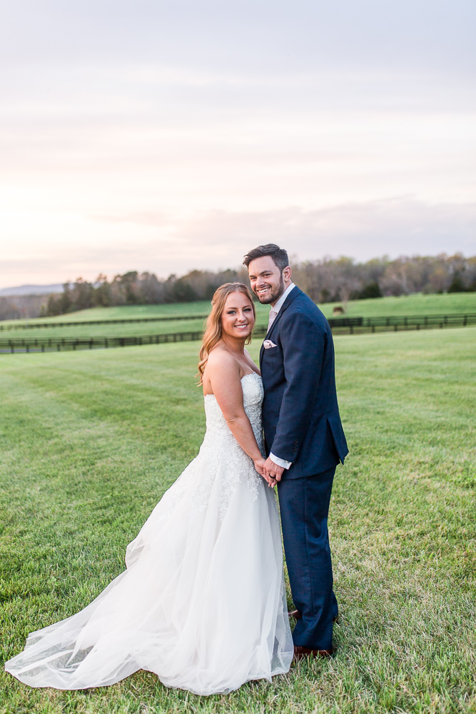 Sunset wedding pictures at Mount Ida Farm