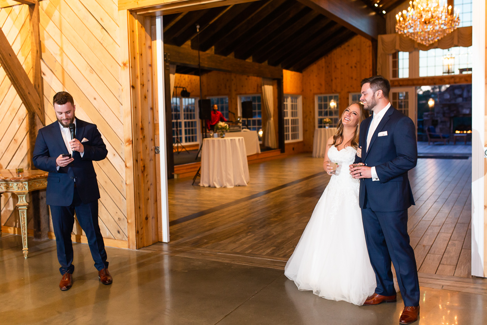 Best Man giving his speech during the Mount Ida Farm wedding reception