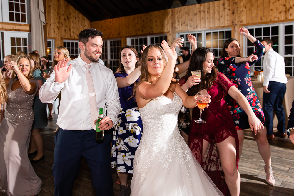 Bride and groom dancing during their wedding reception in Charlottesville, VA