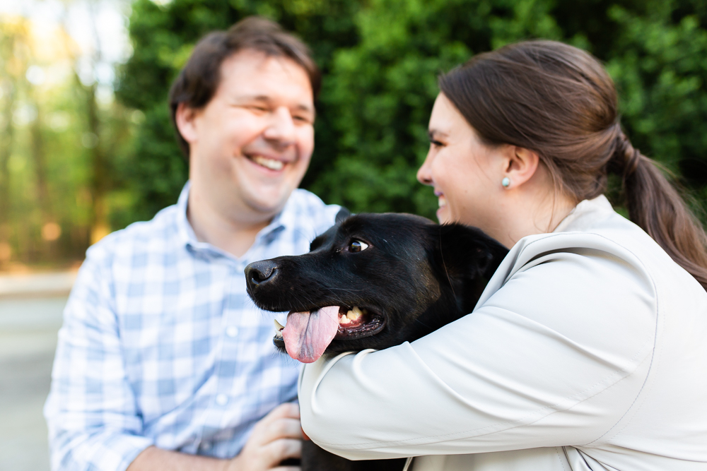 Adorable dog with tongue hanging out of her mouth during her parents' engagement pictures at Roosevelt Island