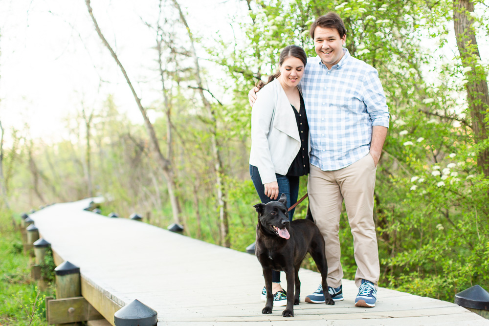 Engaged couple walking their dog on the boardwalk at Theodore Roosevelt Island