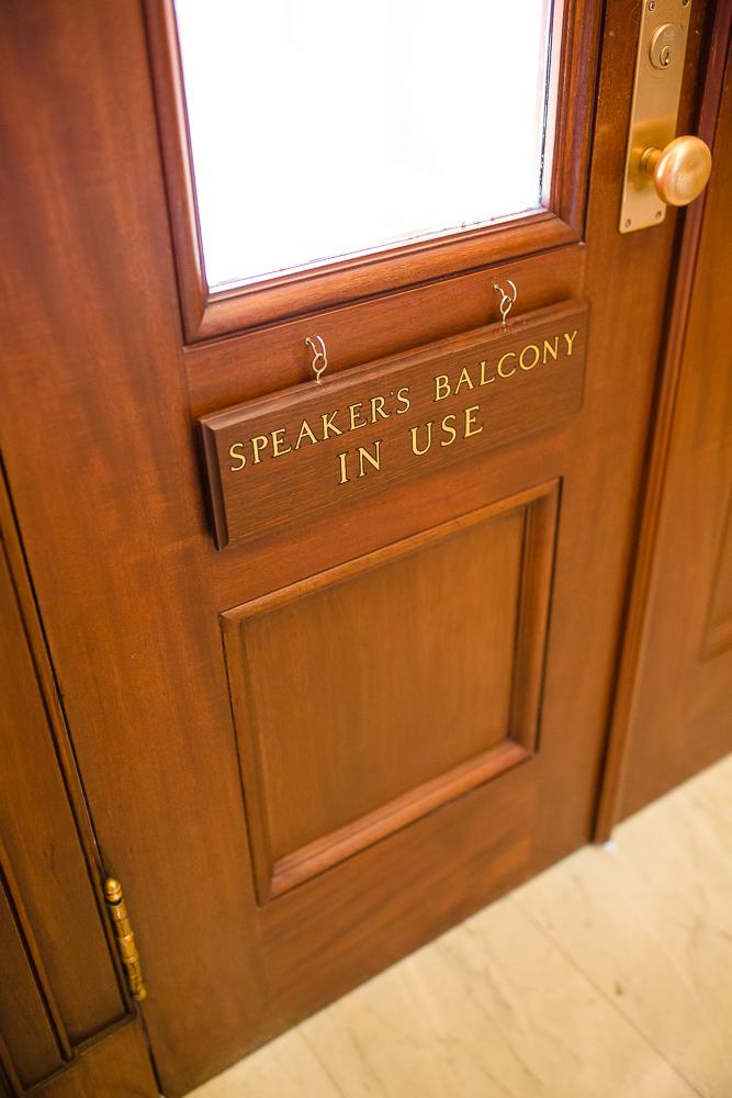 Sign on door of Speaker's Balcony in the Capitol Building