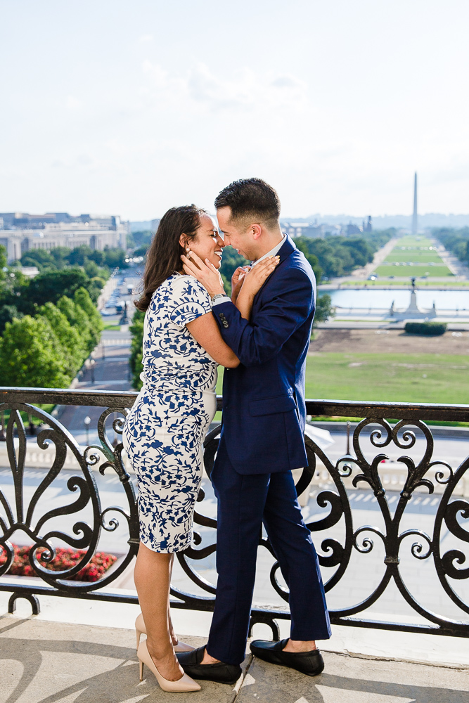 Candid photo of happy couple after they get engaged at the U.S. Capitol in Washington, DC | DC Surprise Proposal Photographer