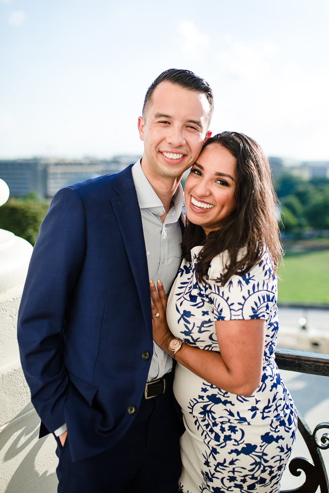 Smiling couple after getting engaged at the U.S. Capitol in Washington, DC