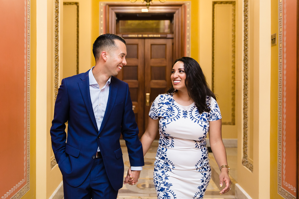 Happy couple after their surprise proposal in the Capitol Building | Washington, DC proposal photography