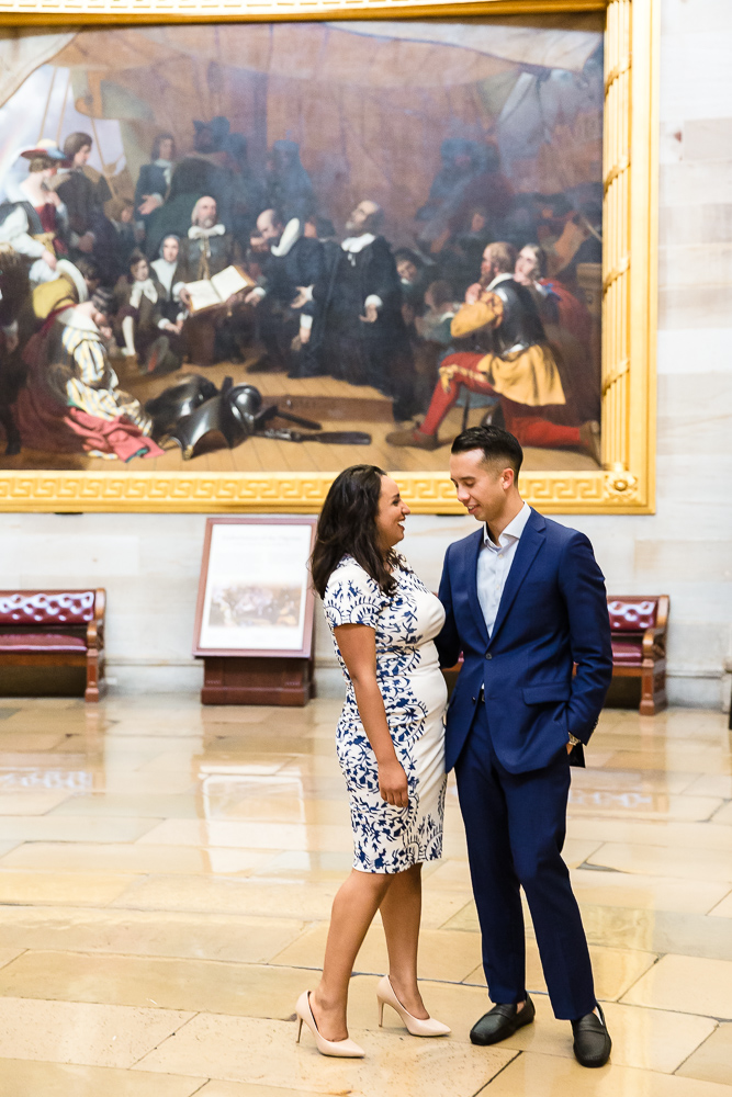 Newly engaged couple after their proposal at the United States Capitol in DC