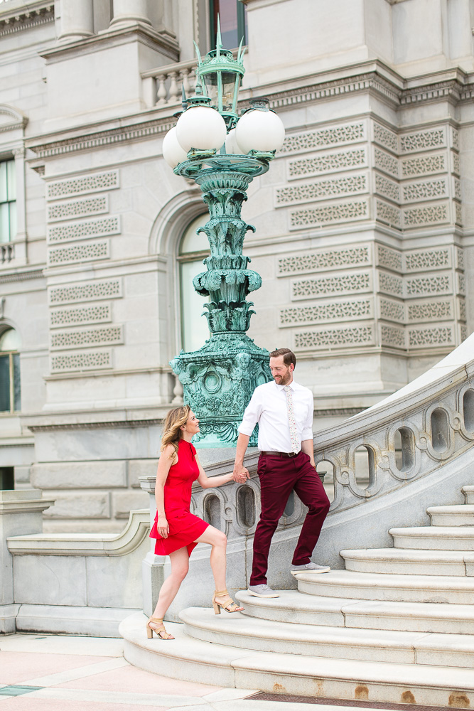 Engagement pictures on the stairs of the Library of Congress | Washington, DC engagement photography