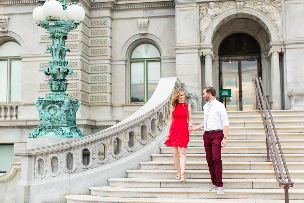 Engagement photos at the Library of Congress in Washington, DC