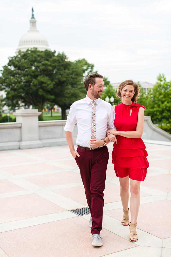 Engagement pictures at the Library of Congress with Capitol Building dome in the background