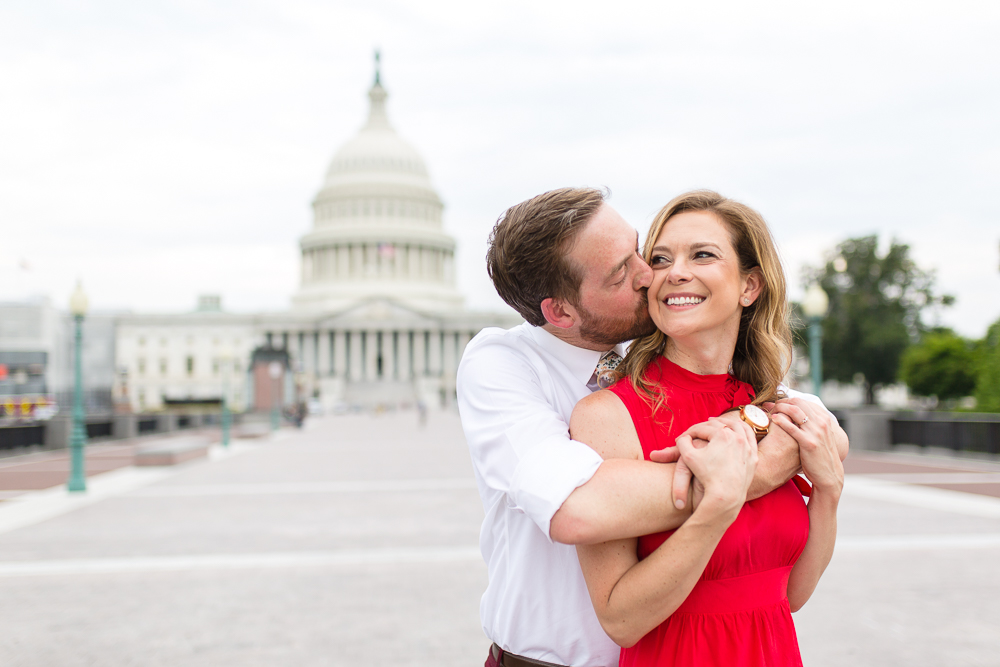 Candid engagement photos in front of the U.S. Capitol Building | Best Washington, DC engagement pictures