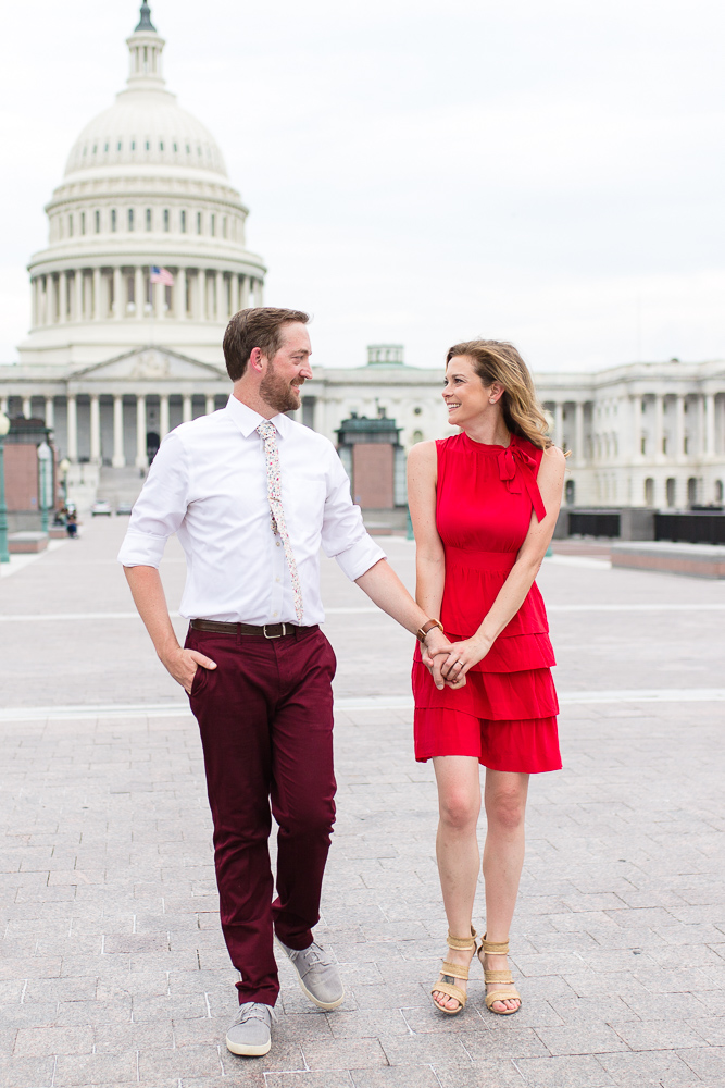 U.S. Capitol engagement photos on the walkway behind the building