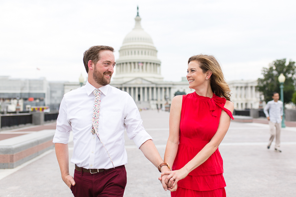 Fun and candid engagement pictures at the U.S. Capitol Building