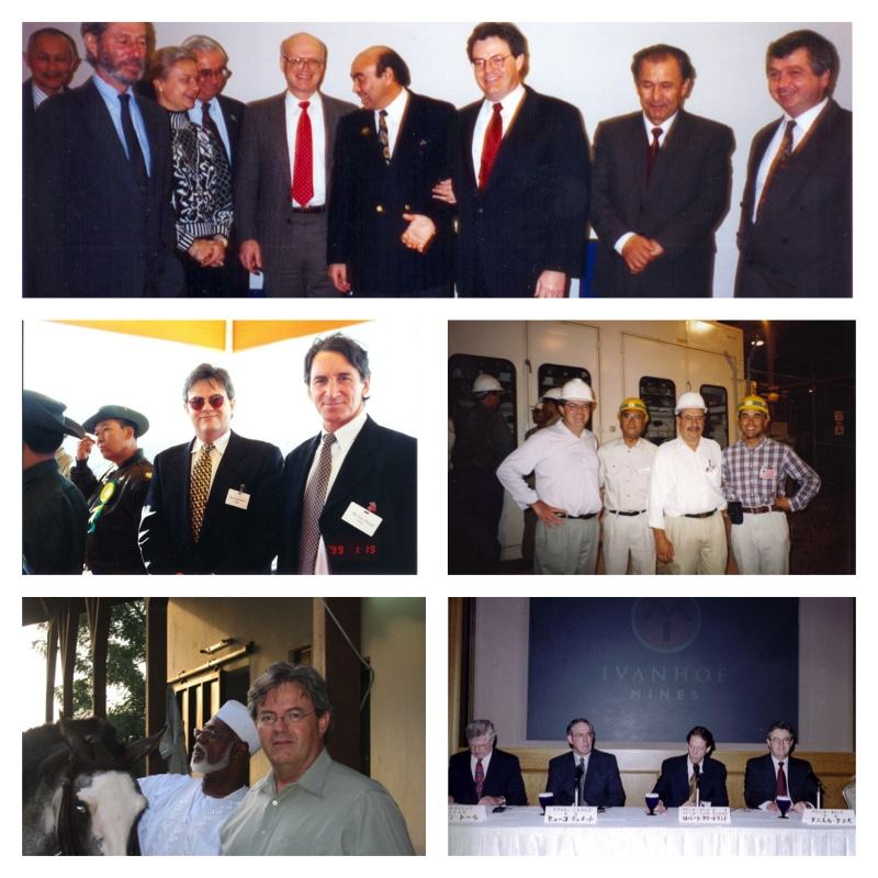 (top) KUNZ WITH KRYGYSTAN PRESIDENT ASKAR AKAYEV, (middle) ED FLOOD and CHYODA TEAM AT S&K FIRST CATHODE,(bottom left) with NIGERIA PRESIDENT abdulsaalmi ABUBAKER, (bottom right 2nd from right) with HUGO DUMMETT in tokyo