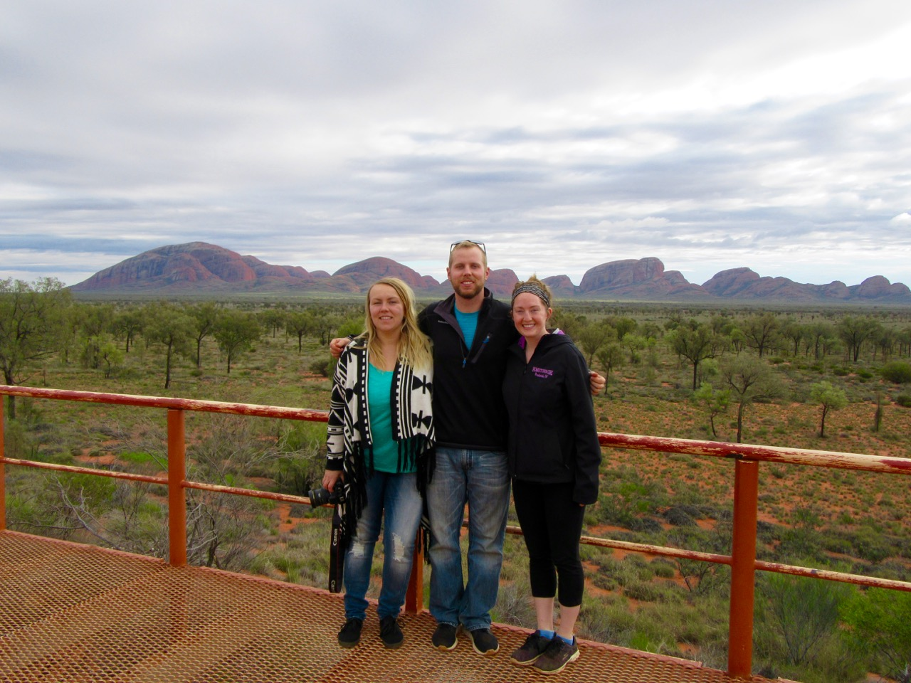 The terrific three in front of The Olgas.