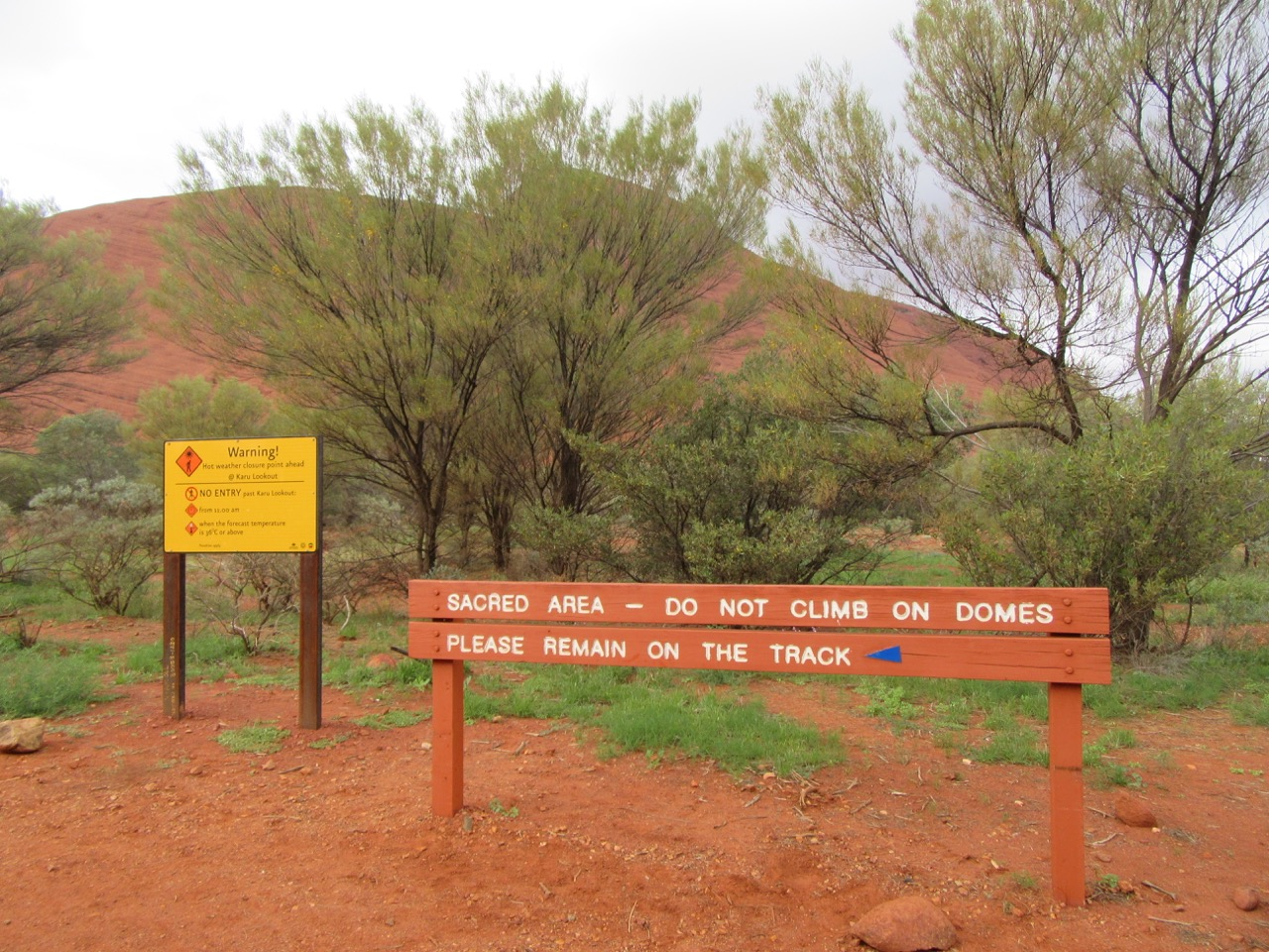 It's interesting that climbing is forbidden here, yet optional at Uluru.