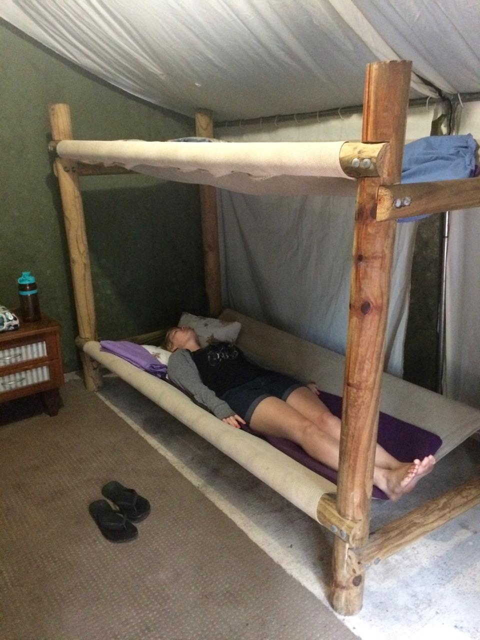 Patricia modeling our unique beds..