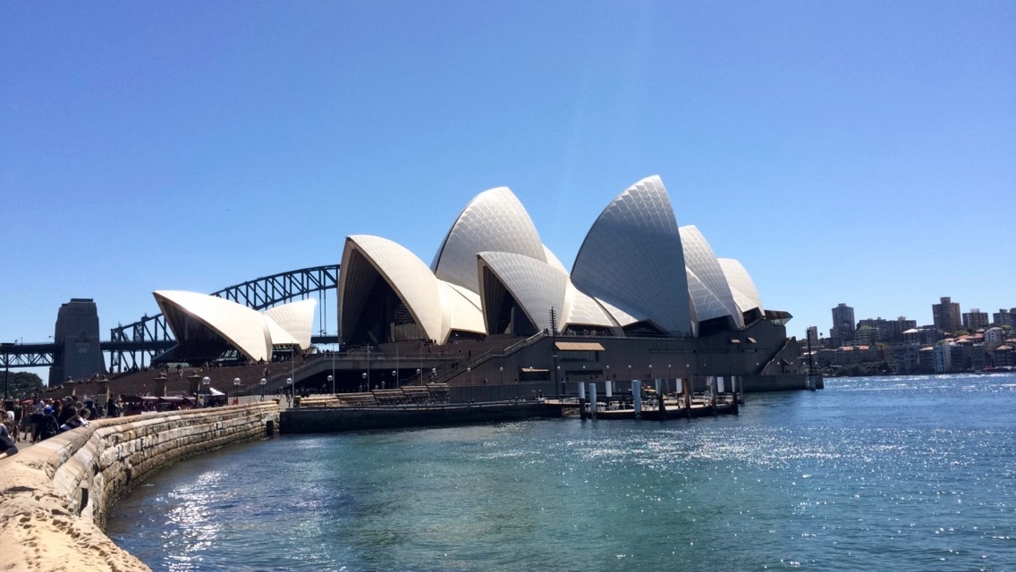 The Sydney Opera House view from the Botanical Gardens walk way.