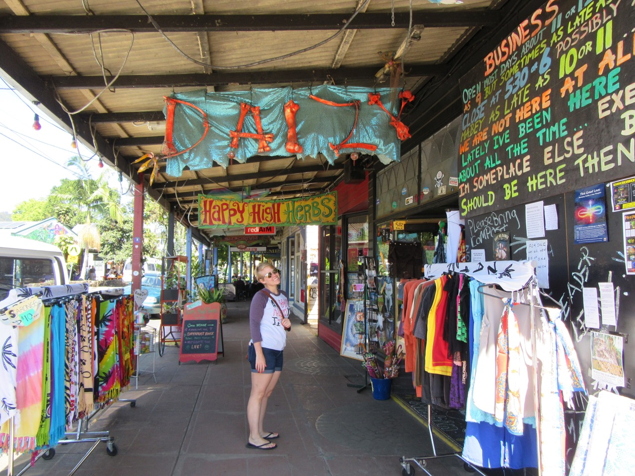 Patricia on the streets of Nimbin.
